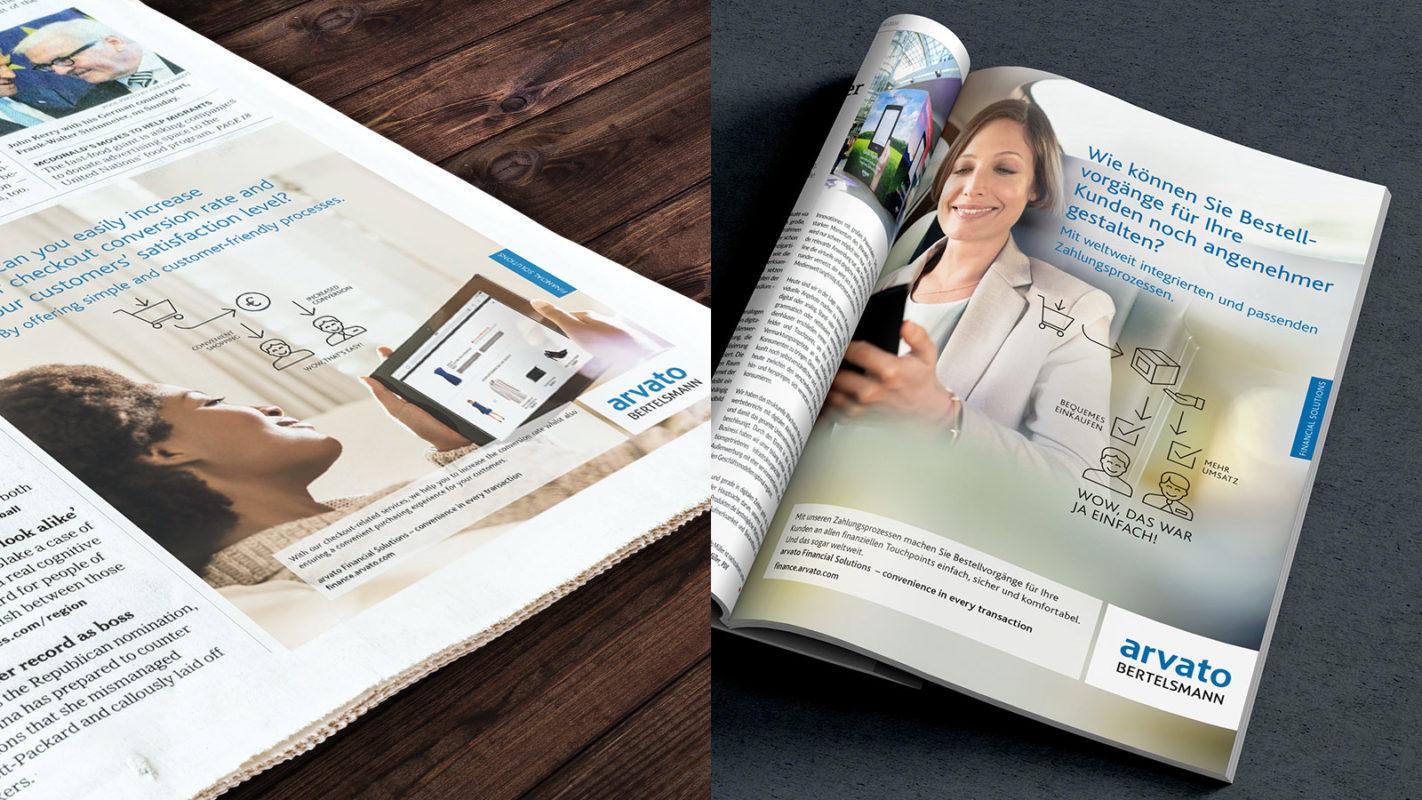 arvato Bertelsmann · Anzeige · Print · Gestaltung · Corporate Identity · CI · Art Crash Werbeagentur Karlsruhe