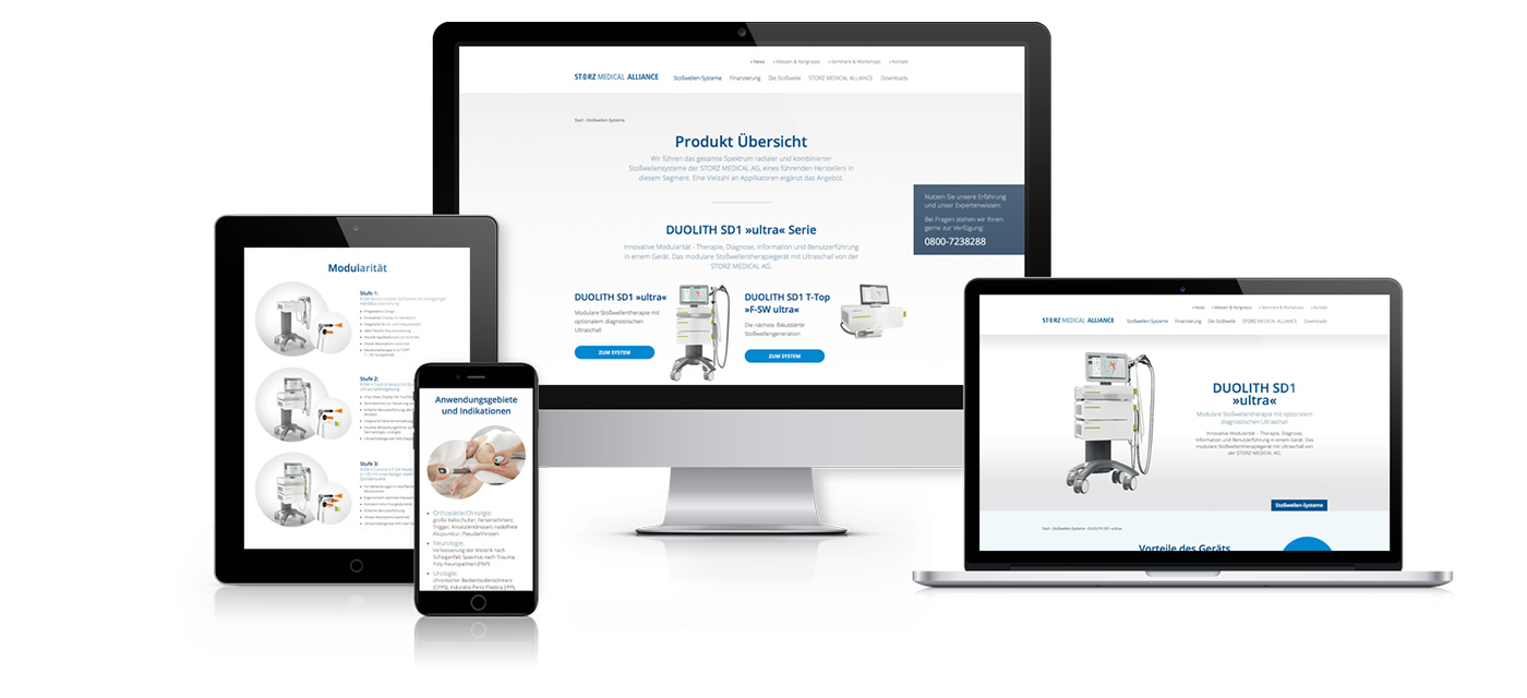 Storz Medical Alliance · Responsive · Tablet · Mobile · Website · Internetseite · Webdesign · Art Crash Werbeagentur Karlsruhe